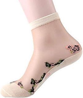 5 Pares Mujeres Rosa Seda Suela De Bordados Calcetines De Ropa festiva Algodón Calcetines Cortos Calcetines De Ocio Calcetines De Seda Delgado Verano