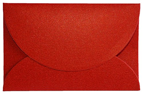 Iridescent Gift Card Envelopes (50 Pack) - Elegant Mini Envelopes Perfect for Wedding Placeholders, Name Cards, Thank You Notes, Flower Arrangements, and Gift Tags (Red)