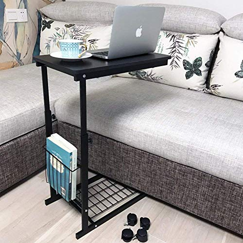 micoe Sofa Side Table with Wheels Couch TableThat Slide Under with Storage Shelves C Style Height Adjustable for Home/Room/Office(Black)