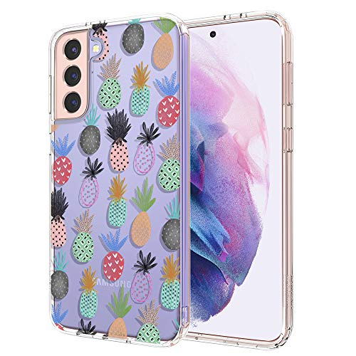 for Samsung S21 Plus Case, for Samsung Galaxy S21 Plus 5G Case, MOSNOVO Crystal Clear Slim Soft TPU + PC Cover Case with Cute Pineapple Design Phone Case for Galaxy S21 Plus