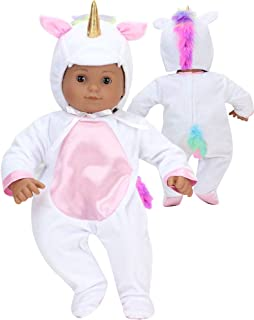 Unicorn Costume for 15 Inch Doll | Features Pink Rainbow Hair | Soft White 2 Pieces Unicorn Costume for Dolls