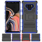 Galaxy Note 9 Stand Case, HLCT Rugged Shock-Proof Dual Layer PC and TPU Case with Built in Kickstand for Samsung Galaxy Note 9 (Blue)
