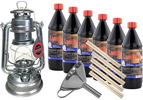 Feuerhand Baby Special 276 - Linterna de tormenta, 6 litros de aceite para lámpara, embudo de acero inoxidable, mechas de repuesto