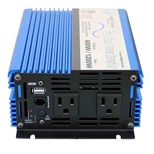 AIMS Power PWRI60012S Pure Sine Power Inverter, 600W Continuous Power, 12 Volt,...
