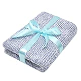 Zenssia Ultra Soft Cotton Knitted Baby Blanket, Breathable Receiving Swaddle Blanket Sky Blue