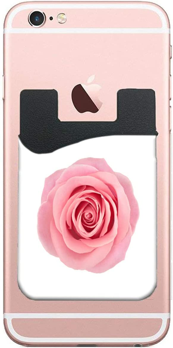 ZXZNC Adhesive Phone Pocket Leather Coral Roses Flower On White Cell Phone Stick On Card Wallet,Credit Cards/Id Card Holder with 3m Sticker for Back of Smart Mobile Phone -Double Pocket