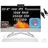 2021 Flagship HP 24 All in One Desktop Computer 23.8' FHD IPSTouchscreen AMD Quad-Core Ryzen 3 4300U ( i5-10210U) 16GB RAM 256GB SSD 1TB HDD Webcam WiFi Win 10 + iCarp HDMI Cable