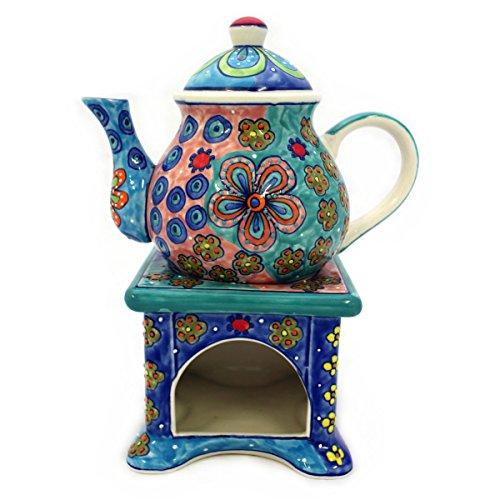 Gall&Zick Teekanne mit Stövchen Kanne Keramik handbemalt Kännchen Geschirr