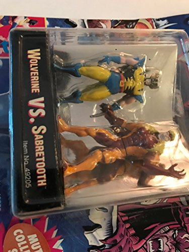 Wolverine vs Sabretooth - Die Cast Metal Figures - 1994 - Poseable - Mutant Collector Stand - Highly Detailed - Toy Biz - Marvel - Limited Edition - Collectible