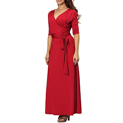 45d514cd265 Aofur Womens Evening Dress Red Ball Gown Prom Evening Party Formal Long  Maxi Dresses Plus Size