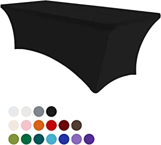 Eurmax 6Ft Rectangular Fitted Spandex Tablecloths Wedding Party Table Covers Event Stretchable Tablecloth (Black)