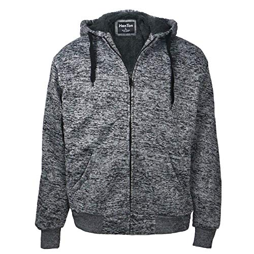 Zipper Sherpa Lined Jackets for Men Thick Workout Big and Tall Training Fleece Thermal Sweatshirts Marble Dark Grey 4XL