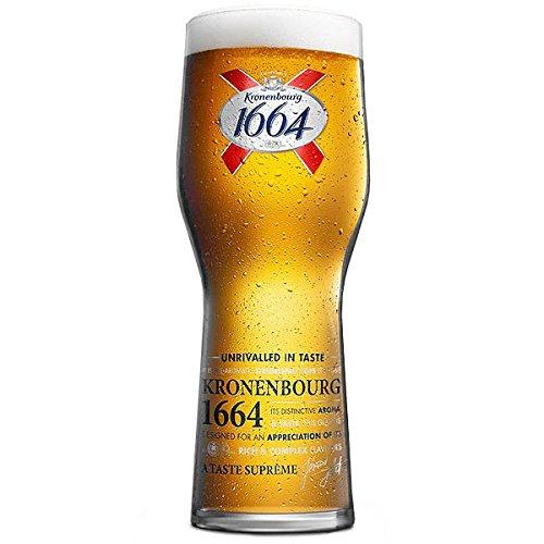 Kronenbourg, Bicchieri da pinta CE 568 ml, confezione da 4 bicchieri da birra Kronenbourg 1664