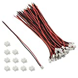 XLX 40Pcs Mini Micro 2.0mm 2PIN Male Connection Plug with 40Pcs 10cmRed Black Female Terminal Connector Wire Cable for LED Light Strip 3.9'' Compatible with JST PH