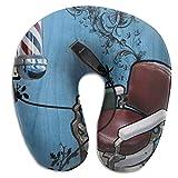 Hdadwy U-förmiges Reisekissen Memory Foam Haarschnitt Rot Weiß Blau Streifen Flugzeug Auto Bus Komfort Kopf Stütze Hals Gebärmutterhalskissen