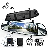 DuDuBell Streaming Dashcam Autokamera 7'-IPS-Touchscreen-Rückspiegelkamera Dual Lens 1080P Dashcam 310 ° Weitwinkel mit Nachtsicht bei Sternenlicht HDR GPS inklusive IP68 wasserdichte Rückfahrkamera