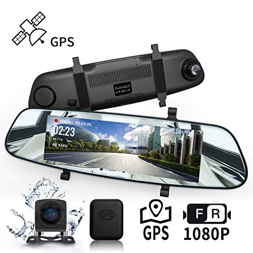 "DuDuBell Streaming Dashcam Autokamera 7""-IPS-Touchscreen-Rückspiegelkamera Dual Lens 1080P Dashcam 310 ° Weitwinkel mit Nachtsicht bei Sternenlicht HDR GPS inklusive IP68 wasserdichte Rückfahrkamera"