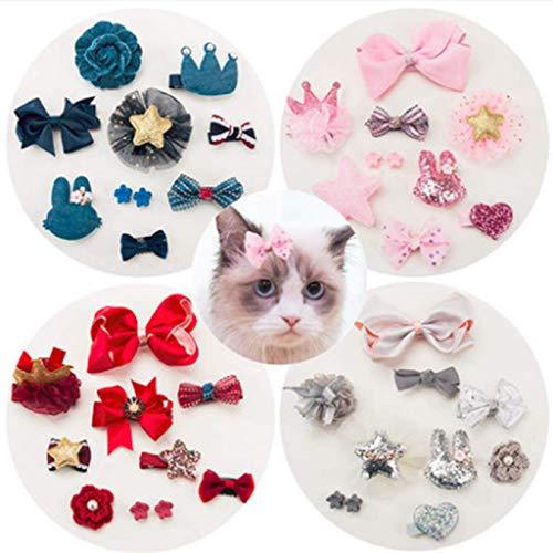 ADIASEN 10 stks Camellia Leuke Teddy Pubby Kitten Strik Bloem Ontwerp Haar Clip Barrette voor Katten, Hond, Andere Huisdieren Haaraccessoires, Rood