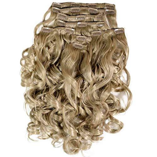 Hair2Heart Extension à Clipser Bouclées Synthétiques 13 Blond Naturelle 60 cm 8 Pièces