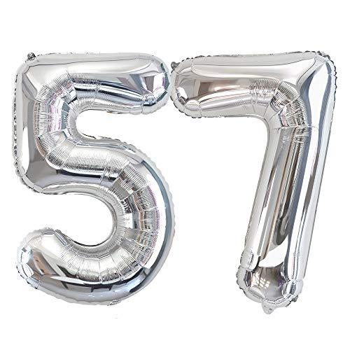 Ponmoo Foil Globo Número 57 75 Plata, Gigante Numeros 0 1 2 3 4 5 6 7 8 9 10-19 20-29 30-39 40-49 50-60-70-80-90-100, Grande Globos para La Boda Aniversario, Globo de Cumpleaños Fiesta Decoración