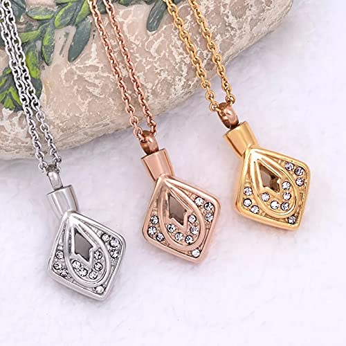 CMLYGTXD Cremains Jewelry Rhombus Shape Cremation Jewelry Pendant Stainless Steel Keepsake Urn Memorial Ashes Necklace Women