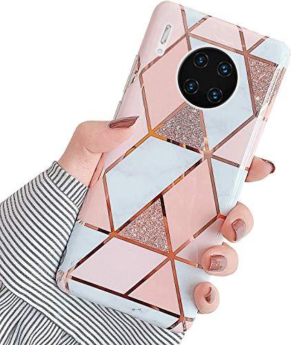 Uposao Kompatibel mit Huawei Mate 30 Pro Hülle Silikon Ultra Dünn Handyhülle Bunt 3D Bling Glitzer Marmor Muster Weich Schutzhülle Kratzfest TPU Bumper Handytasche Soft Case,Rosa Weiß