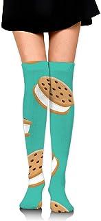Galleta Sandwich Helado Mujeres Sobre la rodilla Calcetines de muslo Niña Medias altas 65 Cm / 25.6In