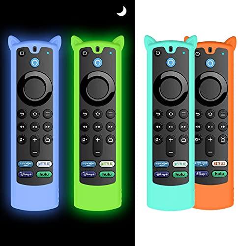 AIYAAIYA 4PCS Schutzhülle für Alexa Sprachfernbedienung (3rd Gen)(2021 Release), Stoßfeste Silikonhülle für Fire TV Stick 4K Fernbedienung mit Anti-Verlust-Seil(Glühen Blau+Glühen Grün+Eisblau+Orange)
