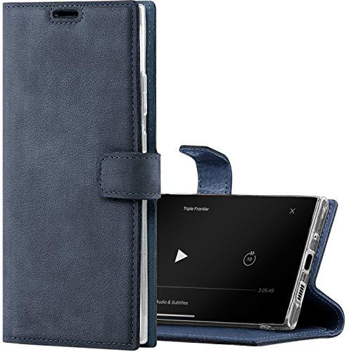SURAZO Hülle für Samsung A21s - Premium Echt Lederhülle Handyhülle - Schutzhülle mit [RFID Schutz] [Standfunktion] - Blau Klappbar Klapphülle - Handmade Wallet case für Samsung Galaxy A21s