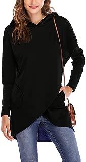 Women's Long Sleeve Hooded Sweatshirt Wrap Asymmetric Hem Pullover Hoodies