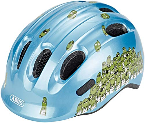 ABUS Smiley 2.0 Kinderhelm - Robuster Fahrradhelm für Mädchen und Jungs - Blau mit Krokodilmuster, Größe M