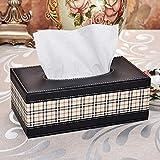 YXSJLT House Tissue Box Tissue Holders British Plaid PU Leather Tissue Box, Leather Drawer Box, Hotel Car Paper Drawer Box