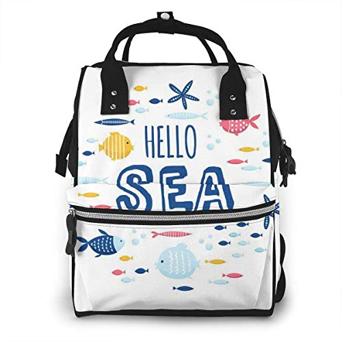UUwant Sac à Dos à Couches pour Maman Hello Cute Creative Cards Templates Ocean Theme Diaper Bags Large Capacity Diaper Backpack Travel Nappy Bags Mummy Backpackling