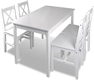 vidaXL Juego de Salón Comedor Madera Blanco Conjunto de Mesa y Cuatro Sillas