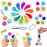 Spinning Fidget Toy Packs, Flower Fidget PopperToy Simple Fidget Dimple Packs Mini Spinners Pop Bubble Toy Sensory Relieves Stress Anxiety Autism for Kids Adults