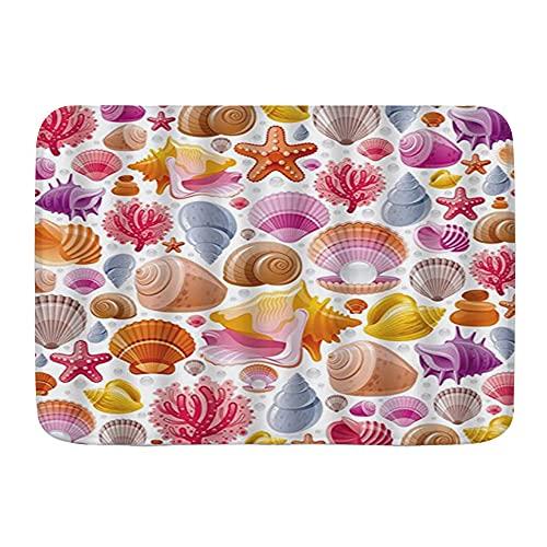 KENADVI Alfombras de baño,Estrella de mar Concha Perla Ostra Algas Arrecife Coral Colorido Patrón de Vida Marina, Artículos de baño Felpudo, Antideslizante