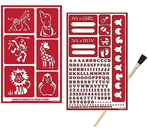 2 Armour Etch Over N Over Reusable Glass Etching Stencils Set   Baby Shower, New Parent, It's A Girl, It's A Boy, Animals Themed Stencil   Set Includes Brush, Total 3 Items