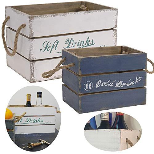 LS-LebenStil 2X Holz Weinkiste Set Blau Weiß Deko Aufbewahrungsbox Stapelbox Wand-Regal