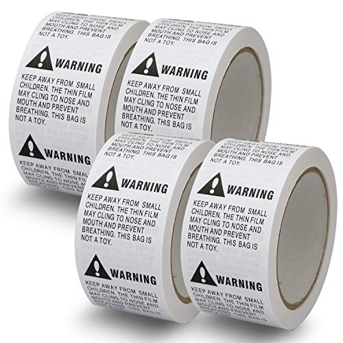 "4 Rolls/2000 Labels,Suffocation Warning,Keep Away from Small Children,2"" X 2"" Removable Label Stickers"