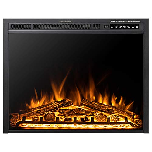 Xbeauty 30 Inch Electric Fireplace Insert, Infrared Electric Fireplace, Three 3D Color with Log and Flame, Indoor Heater with Timer&Remot Control, Adjustable Flame Speed, Touch Screen, 750W/1500W