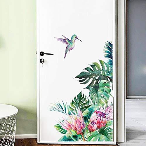 aolongwl Pegatinas de pared de hojas tropicales flores pájaros pegatinas pared dormitorio sala de estar decoración mural decoración hogar pegatinas pegatinas removibles papel pintado