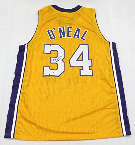Shaquille O'Neal Autographed Los Angeles Lakers Gold Custom Jersey Beckett Witnessed - Autographed NBA Jerseys