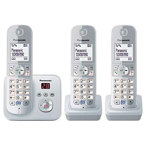PanasonicKX-TG6823GS DECT Schnurlostelefon mit Anrufbeantworter (3 Mobilteile, strahlungsarm, Eco-Modus, GAP Telefon, Festnetz) perl-silber