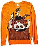 Disney Men's Ugly Christmas Sweater, Timon & Pumbaa/Orange, X-Large