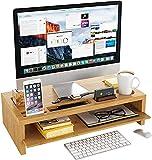 Monitorständer Bambus Bildschirmständer Schreibtisch Organizer Laptopständer Stauraum von Zwei Schichten für Bildschirmerhöhung mit Abnehmbarer Platte als 60x30x15cm