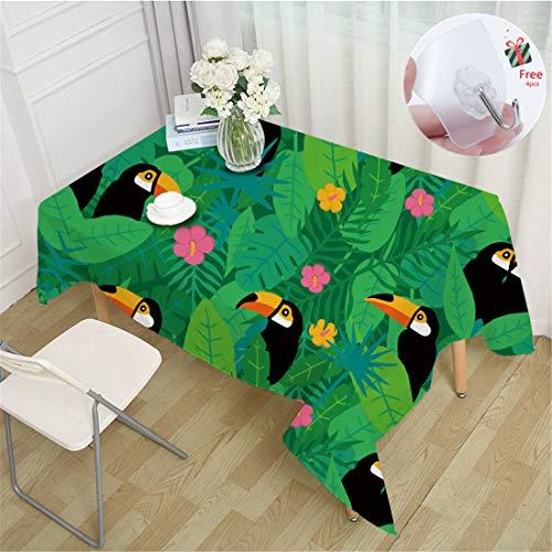 Odot 3D Tischtuch Pflegeleicht, Polyester wasserdichte Rechteckige Tischdecke Abwaschbar Pflegeleicht Eckig Halloween Schmutzabweisend Lotuseffekt Effekt (140x140cm,Tukan)