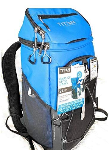 Titan 2000535 Sac à dos isotherme avec poignées Capacité : 24 canettes. La couleur de l'image ne correspond pas. Couleur : bleu uni.