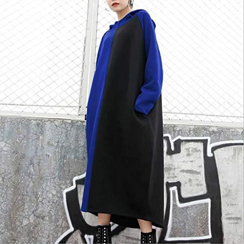 LXDWJ Otoño Color Patchwork Vestido con Capucha Mujeres Winter Fleece Sudadera Vintage Sood Casual Sudaderas Vestidos de Gran tamaño (Color : A, Size : XXX-Large)