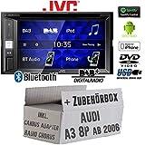 JVC KW-V255DBT - DAB+ | Bluetooth | CD/DVD | USB | Android | iPhone | 2-DIN Autoradio Einbausatz - Einbauset für Audi A3 8P inkl. CanBus, Radio Chorus - JUST SOUND best choice for caraudio