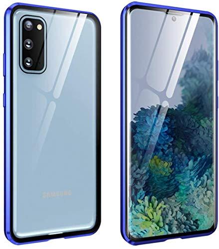 Compatibel met Samsung Galaxy S20 / S20plus / S20ultra Magnetische Adsorptiebehuizing Metalen Frame Helder Slim Fit Ultradunne Schaal Gehard glas Dubbele hoes 360 ° Bumper Hoes,Blue,for Samsung S20
